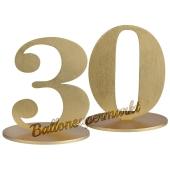 Tischaufsteller Zahl 30 in Gold