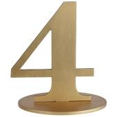 Tischaufsteller Zahl 4 in Gold