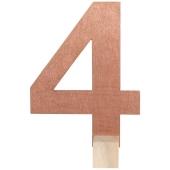 Tischaufsteller Zahl 4 in Rose Gold