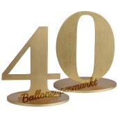 Tischaufsteller Zahl 40 in Gold