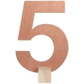 Tischaufsteller Zahl 5 in Rose Gold