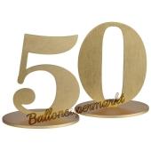 Tischaufsteller Zahl 50 in Gold