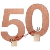 Tischaufsteller Zahl 50 in Rose Gold