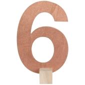 Tischaufsteller Zahl 6 in Rose Gold
