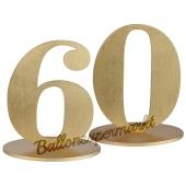 Tischaufsteller Zahl 60 in Gold