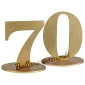 Tischaufsteller Zahl 70 in Gold