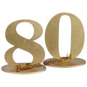 Tischaufsteller Zahl 80 in Gold