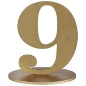 Tischaufsteller Zahl 9 in Gold