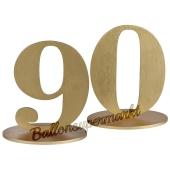Tischaufsteller Zahl 90 in Gold