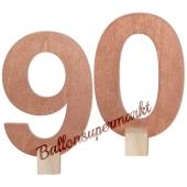 Tischaufsteller Zahl 90 in Rose Gold