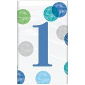 Tischdecke 1st Birthday Blue Dots zum 1. Geburtstag