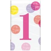 Tischdecke 1st Birthday Pink Dots zum 1. Geburtstag