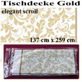 Tischläufer, Tischdecke Gold, Elegant Scroll