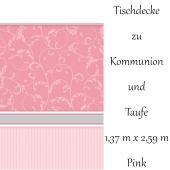 Tischdecke Kommunion und Taufe, rosa, Mädchen, Streifen und Ornamente