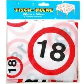 Tischdecke Verkehrsschild 18 zum 18. Geburtstag