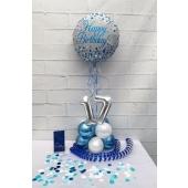 Tischdekoration, Luftballon Zahl 17, Luftschlangen, Konfetti und Servietten