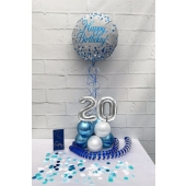 Luftballon aus Folie, Tischdekoration, Konfetti, Luftschlangen und Servietten