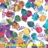 Tischdekoration und Streudekoration, Konfetti Luftballons und Luftschlangen