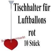 Tischhalter für Luftballons, 10 Stück, rot