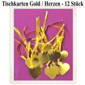 Tischkarten Gold, Herzen mit Satinband, 12 Stück, 5 cm