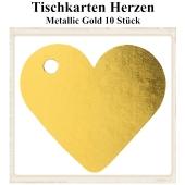 Tischkarte, Namenskarte, Metallic-Gold, Herzen