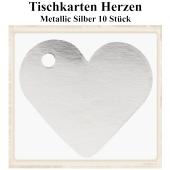 Tischkarte, Namenskarte, Metallic-Silber, Herz