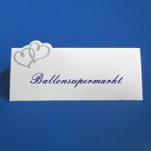 Tischkarten Hochzeit, Silberne Herzen, 12 Stueck