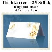 Tischkarten Hochzeit, Ringe und Rosen, 25 Stück