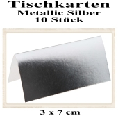 Tischkarte, Namenskarte, Metallic-Silber