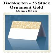 Tischkarten Ornament Gold, 25 Stück