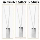 Tischkarten Silber mit Satinband, 12 Stück