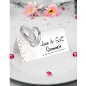 Tischkarten Hochzeit, Ringe und Blumen, 36 Stück