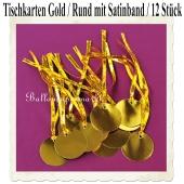 Tischkarten Gold mit Satinband, 12 Stück, Rund, 5 cm