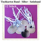Tischkarten Silber mit Satinband, 12 Stück, Rund, 5 cm