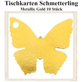 Tischkarte, Namenskarte, Metallic-Gold, Schmetterling