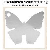 Tischkarte, Namenskarte, Metallic-Silber, Schmetterling