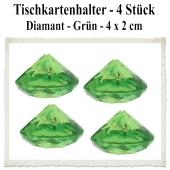 Tischkartenhalter Diamant Grün, 4 Stück, 4 x 2 cm