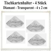 Tischkartenhalter Diamant Transparent, 4 Stück, 4 x 2 cm