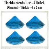 Tischkartenhalter Diamant Türkis, 4 Stück, 4 x 2 cm