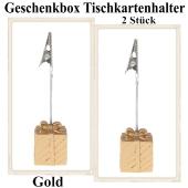 Tischkartenhalter Geschenkbox Gold 2 Stück