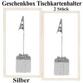 Tischkartenhalter Geschenkbox Silber 2 Stück