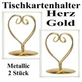 Tischkartenhalter, Gold, Metall, Herzen