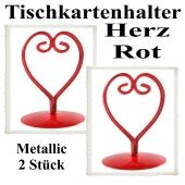 Tischkartenhalter, Rot, Metall, Herzen