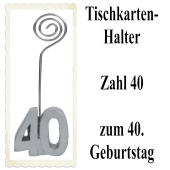 Tischkartenhalter, Namenskartenhalter, Zahl 40, zum 40. Geburtstag