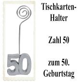 Tischkartenhalter, Namenskartenhalter, Zahl 50, zum 50. Geburtstag