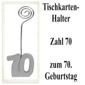Tischkartenhalter, Namenskartenhalter, Zahl 70, zum 70. Geburtstag