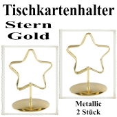 Tischkartenhalter, Gold, Metall, Sterne