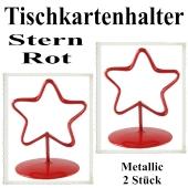 Tischkartenhalter, Rot, Metall, Sterne