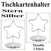 Tischkartenhalter, Silber, Metall, Sterne