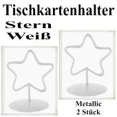 Tischkartenhalter, Weiß, Metall, Sterne